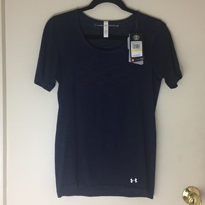 Under Armour Threadborne Short Sleeve Navy Shirt M